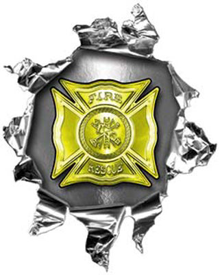 Mini Rip Torn Metal Bullet Hole Style Graphic with Yellow Firefighter Maltese Cross