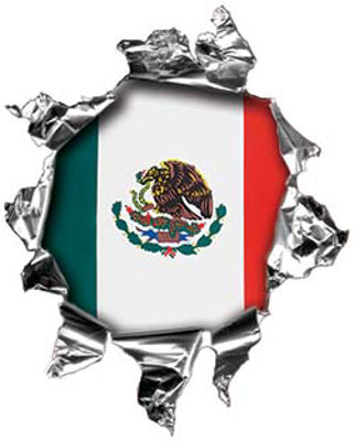 Mini Rip Torn Metal Bullet Hole Style Graphic with Mexican Spanish Flag