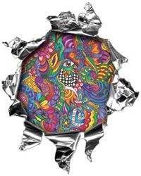 Mini Rip Torn Metal Bullet Hole Style Graphic with Psychedelic Art Design