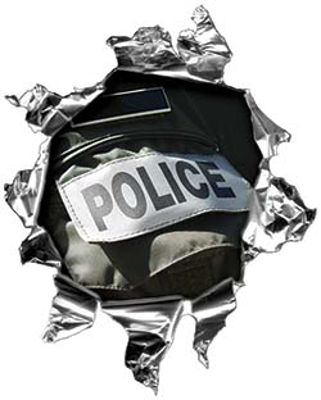 Mini Rip Torn Metal Bullet Hole Style Graphic with Police Gear