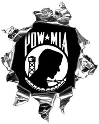 Mini Rip Torn Metal Bullet Hole Style Graphic with POW MIA Flag