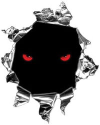 Mini Rip Torn Metal Bullet Hole Style Graphic with Red Evil Eyes