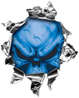 Mini Rip Torn Metal Bullet Hole Style Graphic with Blue Demon Skull