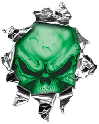 Mini Rip Torn Metal Bullet Hole Style Graphic with Green Demon Skull