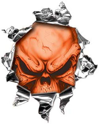Mini Rip Torn Metal Bullet Hole Style Graphic with Orange Demon Skull