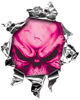 <p>Mini Rip Torn Metal Bullet Hole Style Graphic with Pink Demon Skull</p>
