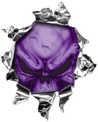 Mini Rip Torn Metal Bullet Hole Style Graphic with Purple Demon Skull