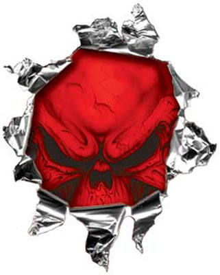 Mini Rip Torn Metal Bullet Hole Style Graphic with Red Demon Skull