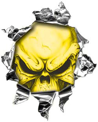 Mini Rip Torn Metal Bullet Hole Style Graphic with Yellow Demon Skull