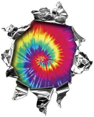 Mini Rip Torn Metal Bullet Hole Style Graphic with Tie Dye Colors