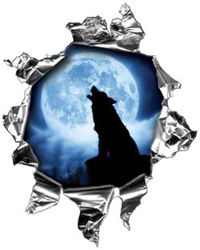 Mini Rip Torn Metal Bullet Hole Style Graphic with Wolf Howling at the Moon