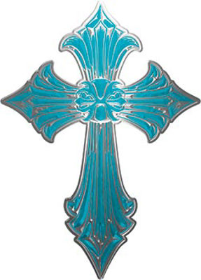 Old Style Cross in Teal