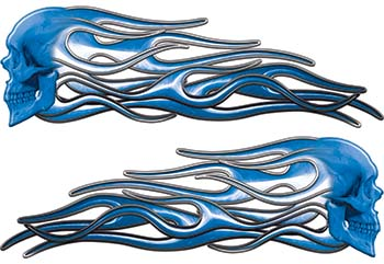 New School Street Rod Classic Car Style Evil Shull Flame Stickers / Decal Kit in Blue
