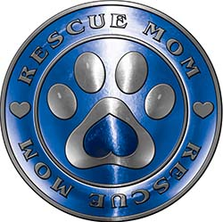Rescue Mom Pet Rescue Adoption Paw and Heart Sticker Decal in Blue