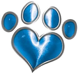 Dog Cat Animal Paw Heart Sticker Decal in Blue