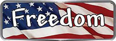 Crazy Biker Helmet, Bumper and Wall Decal / Sticker - Freedom with American Flag