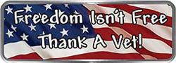 Crazy Biker Helmet, Bumper and Wall Decal / Sticker - Freedom isn't free.  Thank A Vet! American Flag