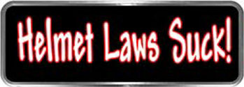 Crazy Biker Helmet, Bumper and Wall Decal / Sticker - Helmet Laws Suck!