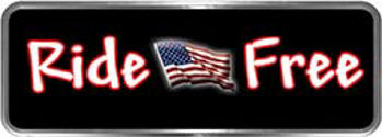 Crazy Biker Helmet, Bumper and Wall Decal / Sticker - Ride Free with American Flag