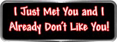 Crazy Biker Helmet, Bumper and Wall Decal / Sticker - I just met you and I already don't like you!