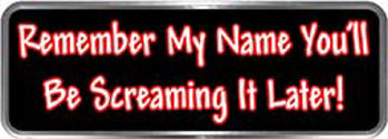 Crazy Biker Helmet, Bumper and Wall Decal / Sticker - Remember my name.  You'll be screaming it later!