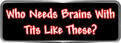 Crazy Biker Helmet, Bumper and Wall Decal / Sticker - Who needs brains with tits like these