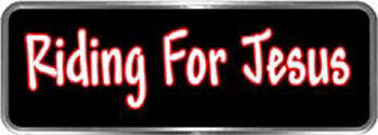 Crazy Biker Helmet, Bumper and Wall Decal / Sticker - Riding for Jesus