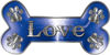 Dog Bone Animal Love with Paws Sticker Decal in Blue