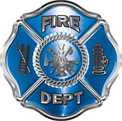 Traditional Fire Department Fire Fighter Maltese Cross Sticker / Decal in Blue