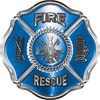 Traditional Fire Rescue Fire Fighter Maltese Cross Sticker / Decal in Blue