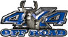 Deer Hunting Edition with Buck and Doe 4x4 ATV Truck or SUV Vehicle Decal / Sticker Kit in Blue