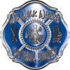 We Walk Where the Devil Dances Fire Rescue Fire Fighter Maltese Cross Sticker / Decal in Blue