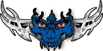 Tribal Wings with Skull In Blue