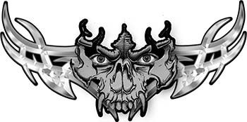 Tribal Wings with Skull In Gray