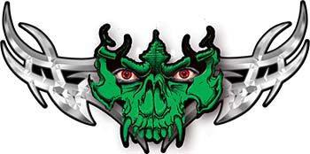 Tribal Wings with Skull In Green