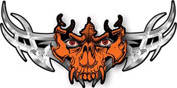 Tribal Wings with Skull In Orange