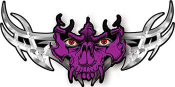 Tribal Wings with Skull In Purple