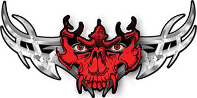 Tribal Wings with Skull In Red