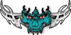 Tribal Wings with Skull In Teal