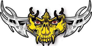 Tribal Wings with Skull In Yellow