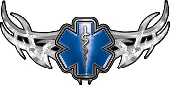 Tribal Wings with Star of Life In Blue