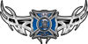 Tribal Wings with Fire Rescue Firefighter Maltese Cross In Blue