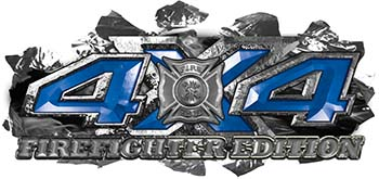 4x4 Firefighter Edition Ripped Torn Metal Tear Truck Quad or SUV Sticker Set / Decal Kit in Blue