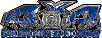 4x4 Firefighter Edition Truck Quad or SUV Decal Kit with Flames and Fire Rescue Maltese Cross in Blue