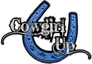 Cowgirl Up Decal / Sticker Western Style Writing with Horseshoe in Blue