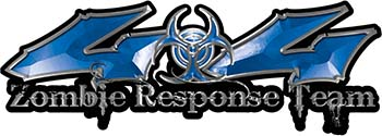 Twisted Series 4x4 Truck Zombie Response Team Decals / Stickers in Blue