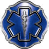 Firefighter EMT / EMS Maltese Cross and Star of Life Sticker / Decal in Blue