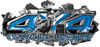 4x4 Cowgirl Edition Ripped Torn Metal Tear Truck Quad or SUV Sticker Set / Decal Kit in Blue