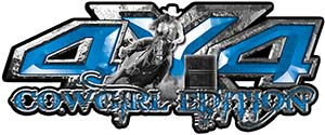 4x4 Cowgirl Edition Pickup Farm Truck Quad or SUV Sticker Set / Decal Kit in Blue