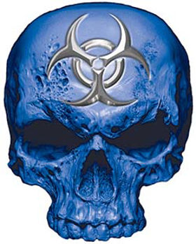 Skull Decal / Sticker in Blue with Bio Hazard Emblem